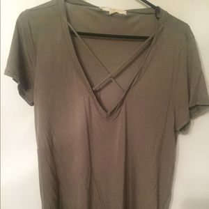 Women's Olive Green Neck Detail T-shirt